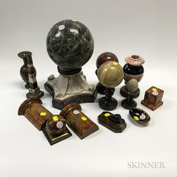 Twenty-two Carved and Turned Stone Items
