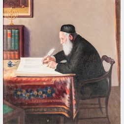 Jacob Binder (American, 1887-1984)      Rabbi Scribe with a Quill Pen