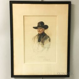 Framed Walter Granville-Smith Watercolor Illustration of a Man with a Cowboy Hat