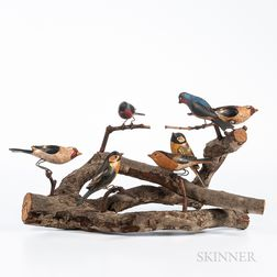Carved and Painted Birds on Branch