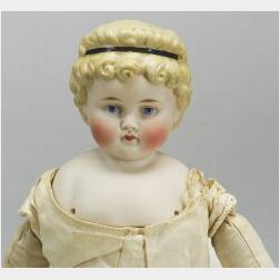 Blonde Molded Hair Tinted Bisque Shoulder Head Doll