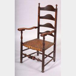Spanish Brown Painted Slat-back Armchair