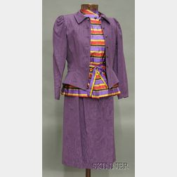 Vintage Guy Laroche Diffusion Purple Moire Suit and Striped Silk Blouse Ensemble