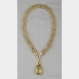 19kt Gold and Lemon Quartz Bead Necklace, Elizabeth Locke