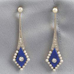 Art Deco Lapis, Pearl, and Diamond Earpendants