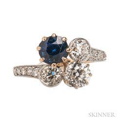 Edwardian Sapphire and Diamond Bypass Ring