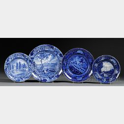 Four Blue Transfer-decorated Staffordshire Pottery Plates