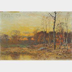 John Joseph Enneking (American, 1841-1916)      Sheep Pasture at Twilight