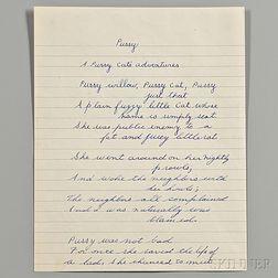 Capote, Truman (1924-1964) Autograph Unsigned Poem: A Pussy Cat's Adventures  , (c. 1935-1936)