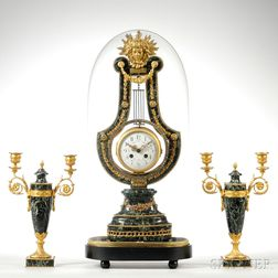 Ormolu-mounted French Lyre Clock and Garniture