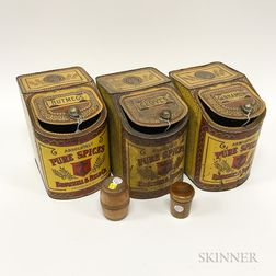 Three Lithographed Spice Tins and Two Treen Table Items