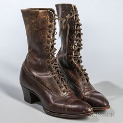 Pair of Women's Leather Boots.     Estimate $200-250