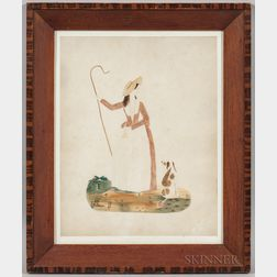 American School, 19th Century    Portrait of a Shepherdess with Her Crook and Dog