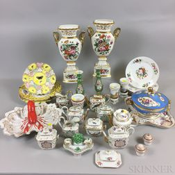 Group of Continental Gilt and Polychrome-decorated Porcelain Tableware