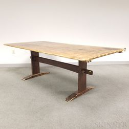Large Pine Trestle-base Shoe-foot Table