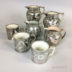 Seven Silver Resist Lustre Ceramic Jugs and Mugs