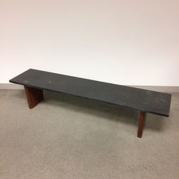 Manner of Phillip L. Powell Slate Coffee Table/Bench