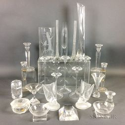Twenty-four Pieces of Colorless Glass Tableware
