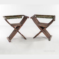 Pair of Walnut Savonarola Chairs