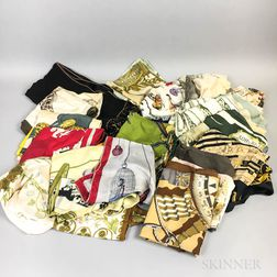 Group of Designer Silk Scarves