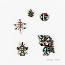Five Zuni Inlay Pins