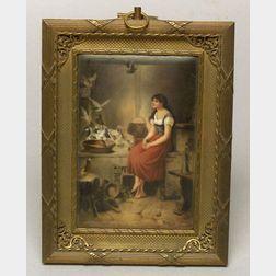 Hutschenreuther Painted Porcelain Plaque of Cinderella