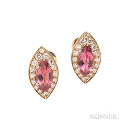 18kt Gold, Pink Tourmaline, and Diamond Earclips