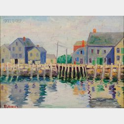 Lot of Two Coastal Views:      Henry J. Billings (American, b. 1894), Rockport Wharf