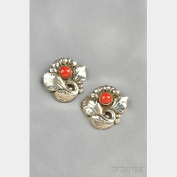 Pair of Sterling Silver and Coral Brooches, Georg Jensen