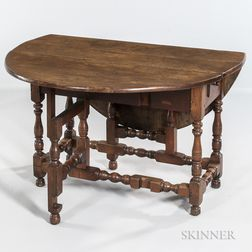 William and Mary Walnut One-drawer Gate-leg Table