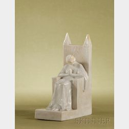 Mougin Art Deco White Glazed Porcelain Figure