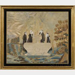 Silk Needlework Memorial Picture to Maria Juliet Allen