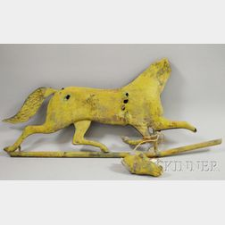 Cast Zinc, Molded, and Cut Sheet Copper Running Horse Weather Vane