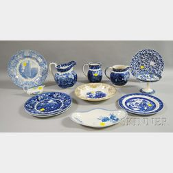Twelve Pieces of Assorted Wedgwood Blue Transfer-decorated Ceramic Tableware
