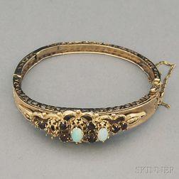 14kt Gold, Opal, and Garnet Hinged Bangle Bracelet