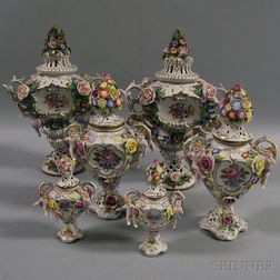 Three Pairs of Dresden Covered Vases