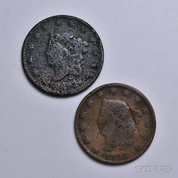 Two 1823 Coronet Head Large Cents