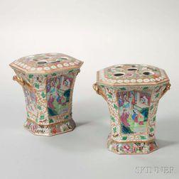 Pair of Rose Mandarin Export Porcelain Bough Pots and Covers