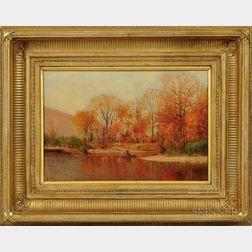 Worthington Whittredge (New York/New Jersey/Ohio, 1820-1910)      Autumn on the Delaware