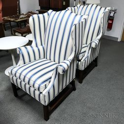 Pair of Southwood Upholstered Chippendale-style Wing Chairs