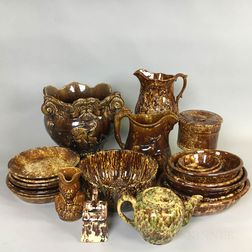 Large Collection of Rockingham-glazed Ceramic Tableware.     Estimate $800-1,200