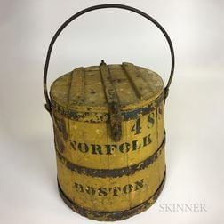 Yellow-painted Pine and Iron Covered Bucket