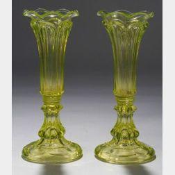 Pair of Yellow Pressed Glass Loop Pattern Vases