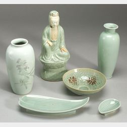 Six Pieces of Celadon Porcelain