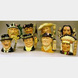 Eight Large Royal Doulton Character Jugs