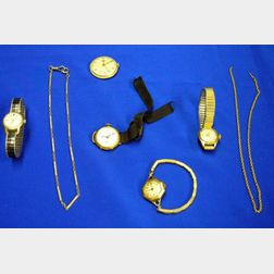 Five Wristwatches and Two Watch Chains