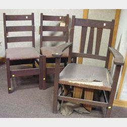 Pair of Gustav Stickley Oak Slat-back Side Chairs and an Arts & Crafts Oak Armchair.