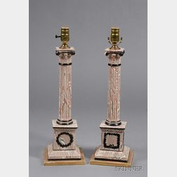 Pair of Classical-style Agateware Lamp Bases