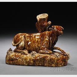 Flint Enamel Glazed Pottery Recumbent Cow Spill Vase