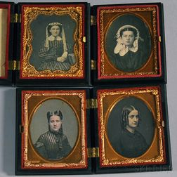 Four Ninth-plate Daguerreotype Portraits of Young Ladies